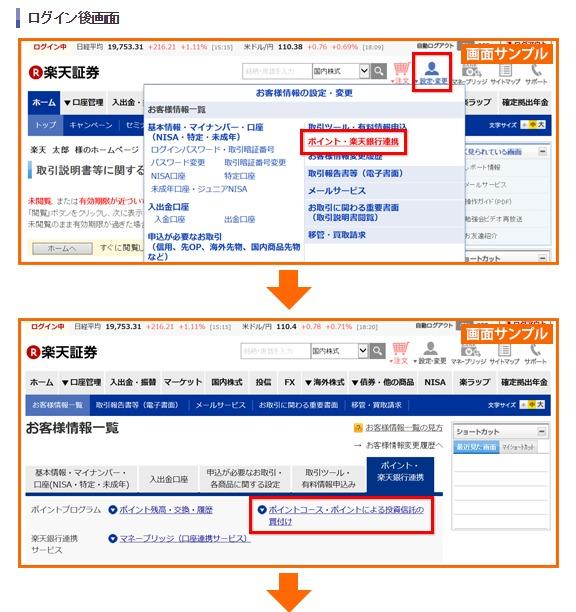 ポイントによる買い付け選択画面説明画像