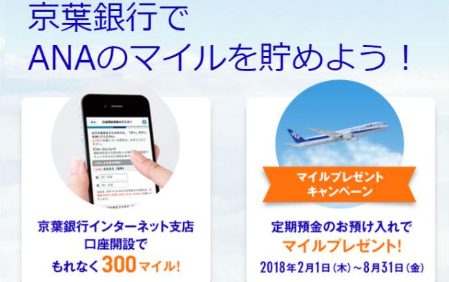 京葉銀行インターネット支店でマイル貯まる説明画像