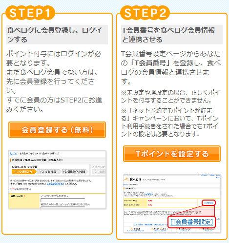 食べログサイトにTカード番号を登録する手順説明画像