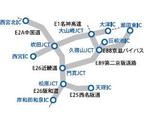 平日朝夕割引対象外エリア(大阪近郊)説明画像