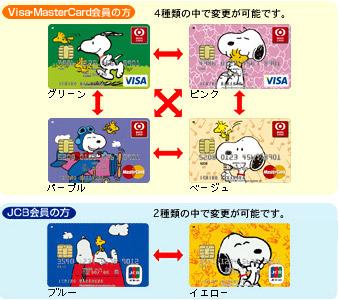 スヌーピーカードVisa/MasterCard4タイプ・JCBは2タイプ