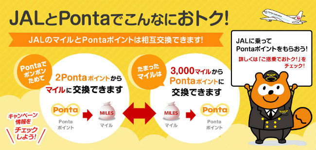 JALマイルとPontaポイントの相互交換可能説明画像