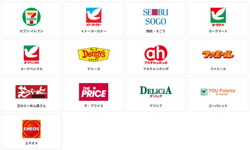 nanacoポイント交換可能店舗一覧画像