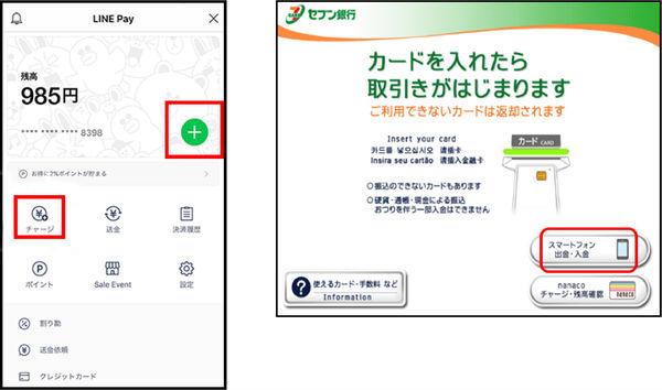 セブン銀行ATMでの現金出金画面説明画像
