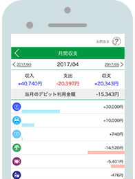簡単通帳アプリ残高紹介画面