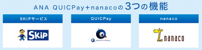 ANA QUICPay+nanaco3つの機能説明画像