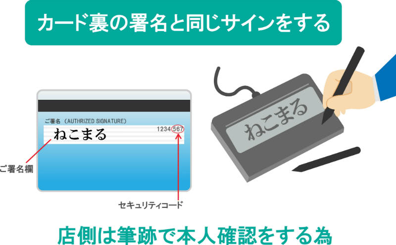 クレジットカード利用時のサイン