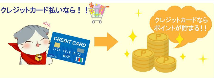 クレジットカード利用でポイントが貯まる